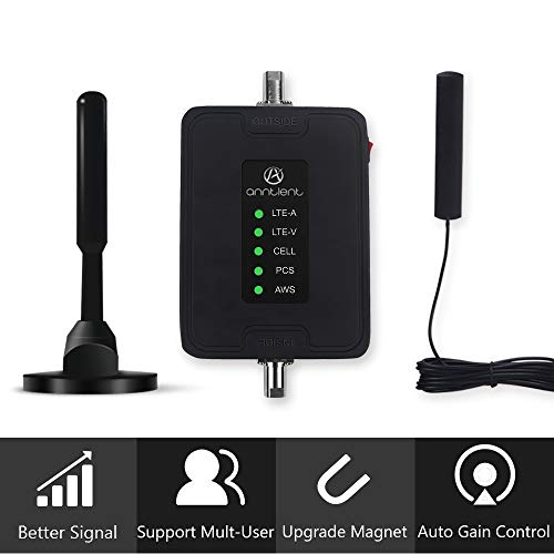 Multiple Band Cell Phone Signal Booster Antenna for Car, Truck and RV - Supports Verizon AT&T T-Mobile Sprint All Carriers - Enhances Your 3G 4G LTE Voice & Data in Vehicle (Band 2/4/5/12/13/17) from A ANNTLENT