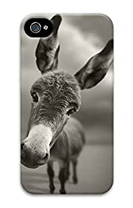 Custom 3D Back Protective Case Cover For iPhone 4 DIY Shell Skin For iPhone 4-Cute Donkey