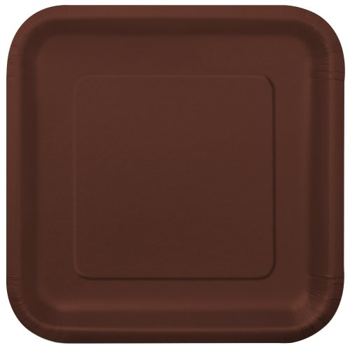 Square Brown Paper Plates, 14ct