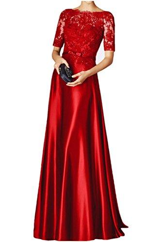 Spitze Spitzenkleider Rot Braut Damen Rot Kleider Festkleider La Jugendweihe mia Lang Langarm Ballkleid Abendkleider vFtxBw