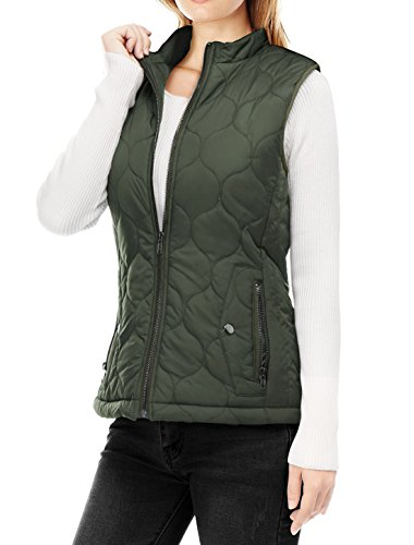 Allegra K Women's Stand Collar Side Pockets Zippered Quilted Padded Vest XL Green (Green Vest Quilted)