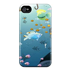 New Style JoyRoom Hard Case Cover For Iphone 4/4s- Underwater Shoal Of Fish