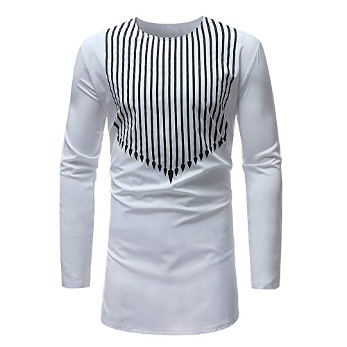 Realdo Clearance Mens Autumn Winter Luxury African Arrow Print Dashiki Shirt Top Blouse(X-Large,White)