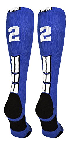 - MadSportsStuff Royal/White Player Id Over The Calf Number Socks (#22, Small)