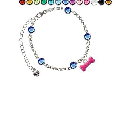 (Hot Pink Glitter Dog Bone Custom Crystal Color Fiona Charm Bracelet)