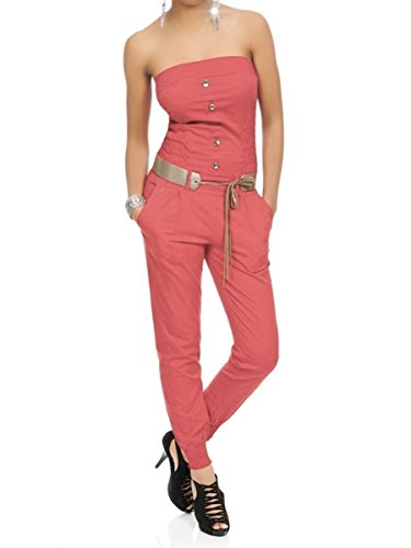 0f3e4cebd04185 Laeticia Dreams Damen Jumpsuit Overall Bustier Sommer Lang S M L XL Koralle  WX5Jb6V