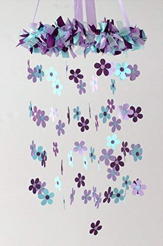 Daisy Nursery Ceiling Mobile in Aqua, Plum, Lavender