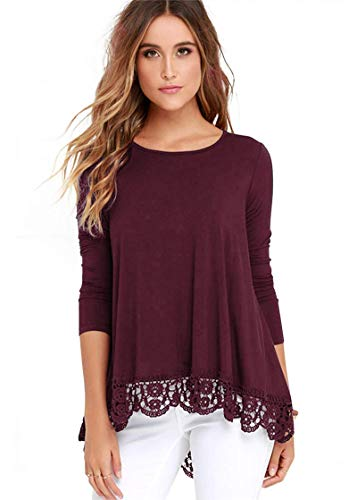DETIMI Women Long Sleeve Lace Trim O-Neck A-Line Tunic Loose Blouse Burgundy L by DETIMI