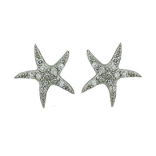 925 Sterling Silver Starfish Stud Earrings - Pave Cubic Zirconia Small Fish Earrings - Nautical Jewelry