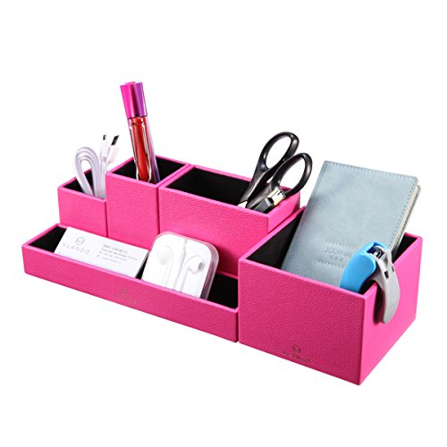 VPACK Leatherette 5-Compartment Multifunctional DIY Office Desk Organizer,Desktop Stationery Storage Box, Card/Pen/Pencil/Mobile Phone/Remote Control Holder, Assorted Color (Fuchsia Pink)