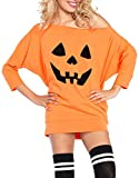 Women Halloween Costume Adult Party Fancy Halloween Pumpkin Off Shoulder Mini Jersey Dress Tunic Dress