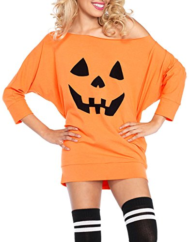 Women Halloween Costume Adult Party Fancy Halloween Pumpkin Off Shoulder Mini Jersey Dress Tunic Dress ()