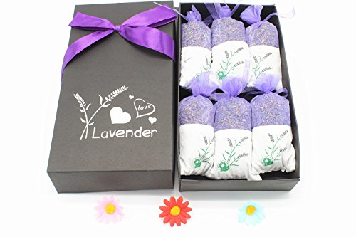 6 Pack Natural Lavender Scented Sachets,Effectively Repel Insects and Moths Purifies Bad 0dour,Moth Protection for Drawers and Closets,Clothes Storage,Shoes Cabinet,Pillow,DIY etc Pillow Sachet