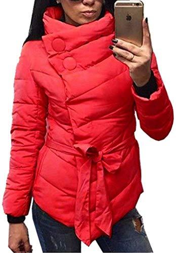 Huixin Plumas Mujer Fácil Invierno Caliente Abrigo Acolchado Elegante Colores Sólidos Asimetricas Modernas Transición Casuales Stand Cuello Manga Largo Parka Chaqueta Acolchada con Cinturón Rot