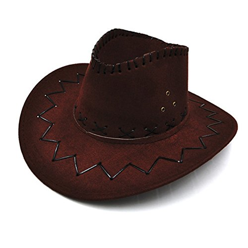NTRA Cowboy Hat Vintage Knight Cap Adjustable Casual Prints Cowgirl Wide Brim Party Costumes Boys Girls Western Sunshade Halloween Retro(Dark Coffee)]()