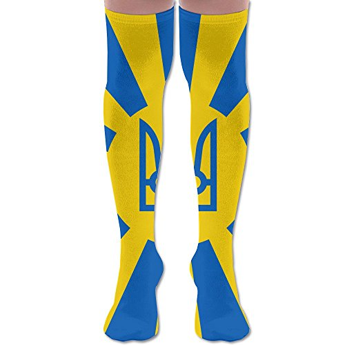 Imperial Ukrainian Flag Polyester Cotton Over Knee Leg High Socks Unique Unisex Thigh Stockings Cosplay Boot Long Tube Socks For Sports Gym Yoga Hiking Cycling Running Soccer (Imperial Denim)
