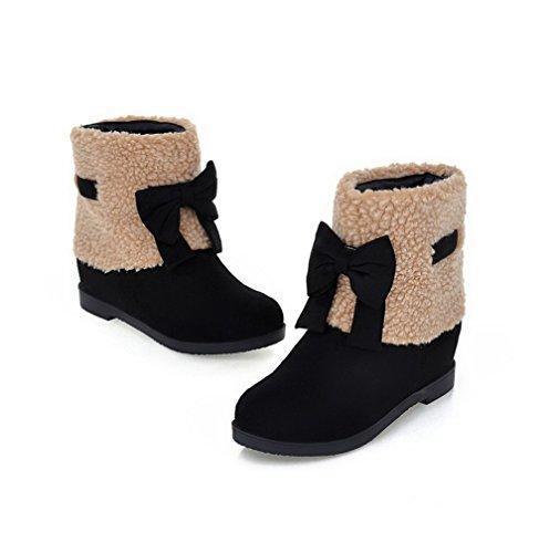 AgooLar Damen Kurz Velours Ziehen auf Rund Zehe Niedriger Absatz Gemischte Farbe Stiefel Schwarz