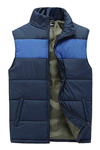 MADHERO Mens Outwear Lightweight jacket Contrast Color Vest Stand Collar Waistcoat (L, (Vest Color)