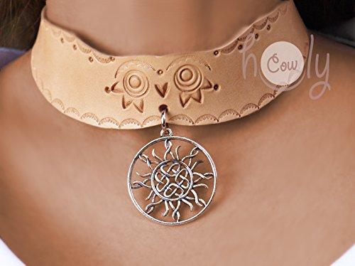 Handmade Leather Collar Celtic Spirit Sun Knot Pendant Necklace