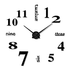 Funwill DIY Large Acrylic Mirror Wall Clock 3D Numbers Design Sticker for Living Room Fashion Clock Home Decor Art Gift (Black)
