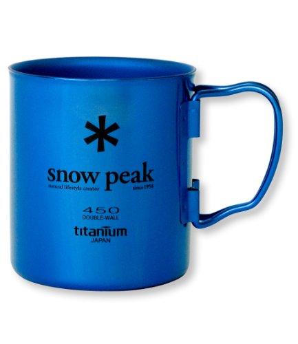 Snow Peak Titanium Double Wall 450 Mug, Fresh Water Blue (Wall Titanium Cup)