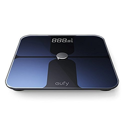 Eufy BodySense Smart Scale with Bluetooth, Large LED Display, Weight/Body Fat/BMI/Fitness Body Composition Analysis, Auto On/Off, Auto Zeroing, Tempered Glass Surface, Black,lbs/kg/st Units