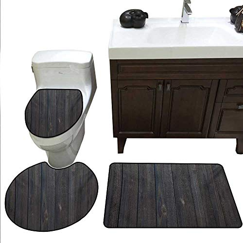 Dark Grey Bath Rug Set Wood Fence Texture Image Rough Rustic Weathered Surface Timber Oak Planks Rug Contour, Mat and Toilet Lid Cover Dark Grey Blue