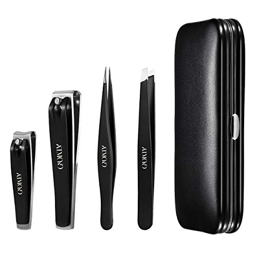 Nail Clippers Set, Atmoko Manicure Set with Pedicure Kits, High Precision Stainless Steel Slanted Pointed Tweezers and Leather Travel Case for Eyebrow Plucking & Nail Trimming