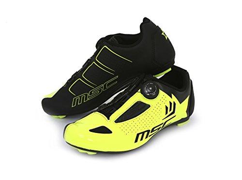 MSC Bikes Aero Road Zapatillas Ciclismo, Amarillo, T-44: Amazon.es: Deportes y aire libre