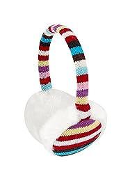 Lady White Plush Pad Colored Striped Ear Cover Earmuffs