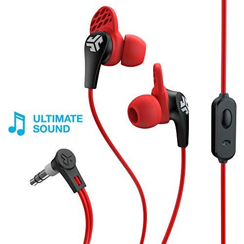 JLab Audio JBuds Pro Signature Earbuds | Titanium 10mm Drivers | Music Controls, Universal Mic | Custom Fit with Cush Fins | Red