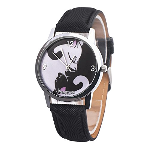 YJYdada Fashion Cute Women Girl Colorful Cat Leather Band Analog Alloy Quartz Watch (Black)