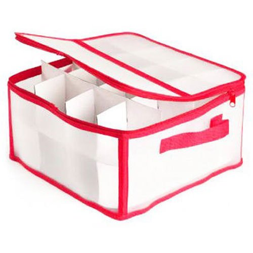 Dyno Seasonal Solutions 78012-1CC Opaque Zip Up Ornament Storage Box Holds 32 Ornaments Photo Band