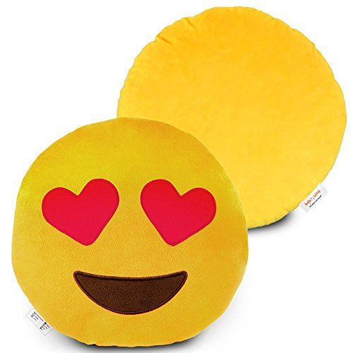 briteNway Large 14 Emoji Cute Pillow Heart Eye - Love & Happy Cartoon Face - Yellow Stuffed Soft Plush Comfortable and Funny Set of All Collection - Perfect Fun Item for All Ages