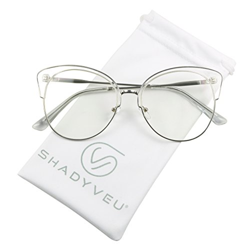 ShadyVEU - Semi Rim Lightweight Cat Eye Oversize XL Clear Lens RX Frame Sun Glasses (Clear, - Are Or Sunglasses Transparent Translucent