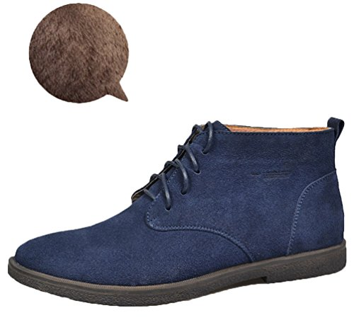 Up Leather by Santimon Suede Boots Top Lace High Lined no fleece Winter Chukka Fur Ankle and fleece lined Men's for choose fleece Desert Shoes Snow Blue xqOYvawWZ