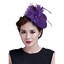 EOZY Women Feather Fascinator Mini Hat Flower Hairpin Hair Accessories