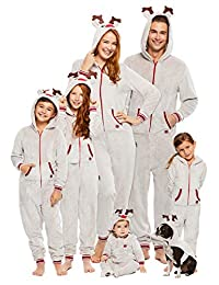 Family Santa's Sleigh Squad Matching Pajamas | Mens Reindeer Onesie Size L