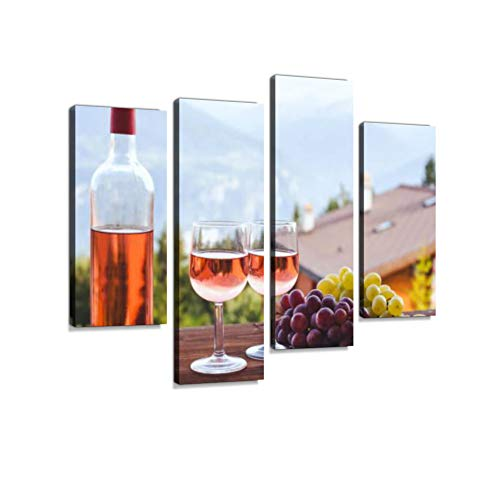 (Bottle of Pink Rose Wine with Two Glasses Canvas Wall Art Hanging Paintings Modern Artwork Abstract Picture Prints Home Decoration Gift Unique Designed Framed 4 Panel)