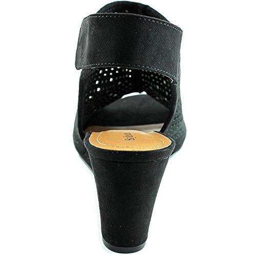 Style & Co.. Womens Heatherr Suede Open Toe Casual Platform Sandals Black TFsPLL2pj