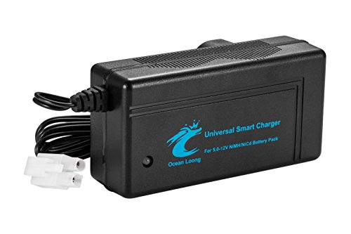 Rc Cars Batteries (OceanLoong 2-Amp Smart Fast Charger for 6V-12V NiMH/NiCd RC Car Battery Pack with Standard Tamiya Connector and Traxxas adapter connector)