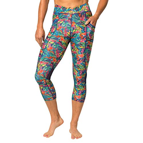 Zuma Blu Women's Active Capri Pant Pockets | High-Waist Capris Yoga, Running, Workouts | Tummy Control Top Graphic Pattern Compression Leggings | Tropical Blue - Gloves Spandex Blu