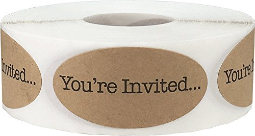 You're Invited Motivational Saying Labels Natural Kraft 1 x 2 Inch Oval 500 Total Stickers