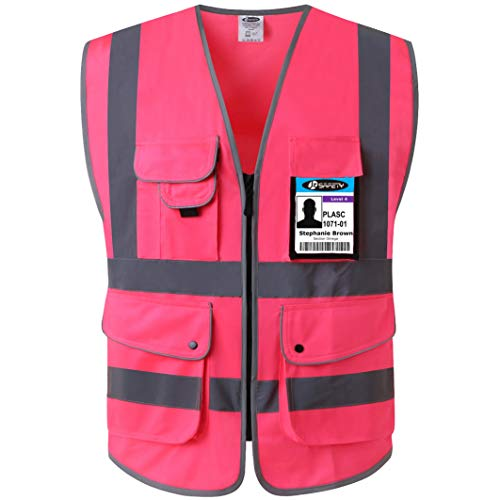 JKSafety 9 Pockets Class 2 High Visibility Zipper Front Safety Vest With Reflective Strips, Meets ANSI/ISEA Standards (Large, Pink) (Pink Womens Safety Vest)