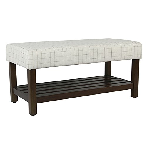 HomePop Decorative Bench with Storage - Cream Windowpane by HomePop