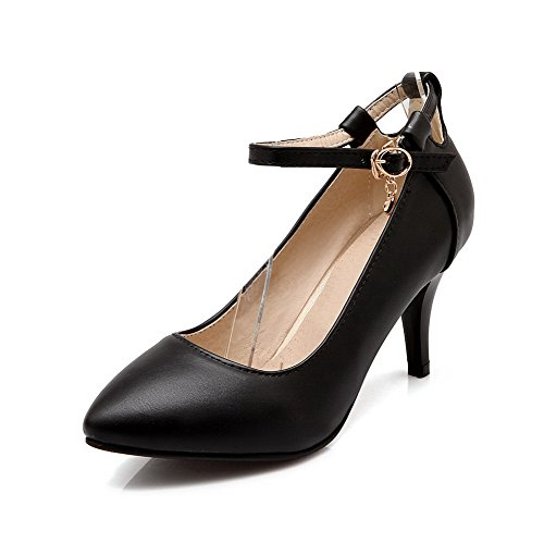 Material Solid Heels Shoes Women's Soft Toe Pointed Black WeiPoot High Buckle Closed Pumps Yq6R1xwwA