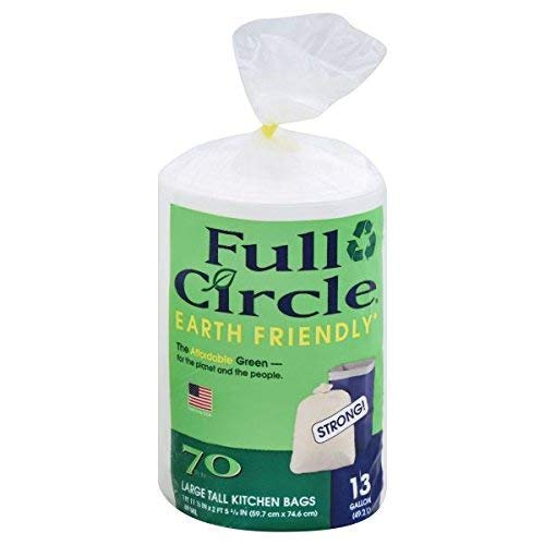 Full Circle - Recycling Tall Kitchen Trash Bags, 13 Gallon (70 Count) - Made in USA