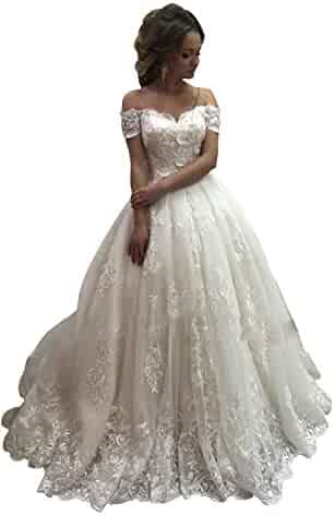 c0c2d87db7c Banfvting Vintage Lace Off-Shoulder Wedding Ball Gown Sweetheart