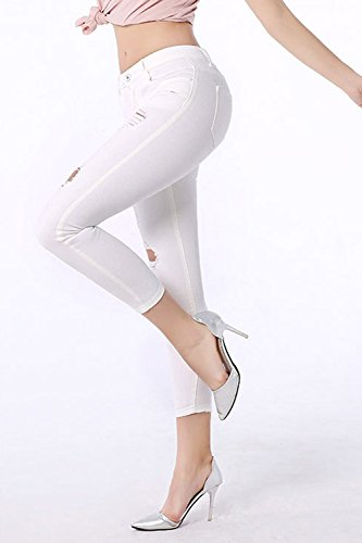 Taglio Cadono E Elasticizzati Jeans Donne Si Zojuyozio Dimensioni White Pantaloni I Denim wXFgT