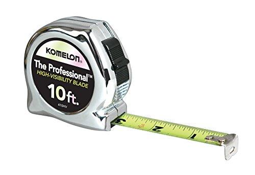 Komelon 410HV High-Viz Professional Tape Measure, 10-Feet by 5/8-Inch, Chrome (Tape Measure 10ft)